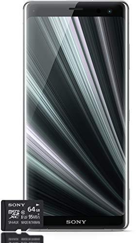 Sony Xperia XZ3 Smartphone Bundle (15,2 cm (6 Zoll) OLED Display, Dual-SIM, 64 GB interner Speicher, 4 GB RAM, Android 9.0) Silver + gratis 64 GB Speicherkarte [Exklusiv bei Amazon] – Deutsche Version