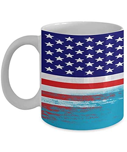 N\A USA Tuvalu Flagge polynesische 11oz weiße Kaffeetasse Teetasse