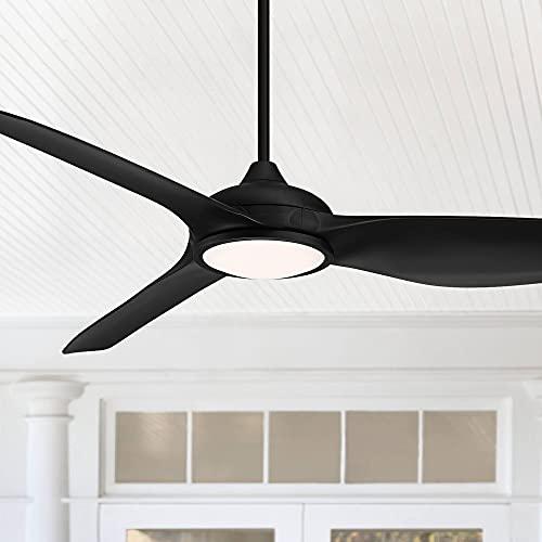 "60"" Possini Damp Rated Dark Vader Matte Black LED Ceiling Fan - Possini Euro Design"