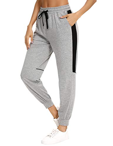 Aibrou Pantalones Chandal Mujer Largos Verano Pantalón Deporte Algodón Casuales con Bolsillos Pantalones de Punto para Gimnasio Correr Entrenamiento Jogging