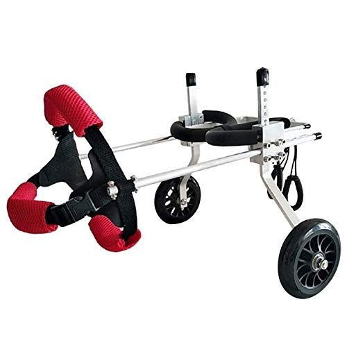 RJJBYY Hunde-Mobilitäts-Geschirr, Hunde-Kinderwagen, Hunde-Rollstuhl, Hunde-Mobilitätsgeschirr, Rückenunterstützung, Rollstuhl, verstellbar, Edelstahl