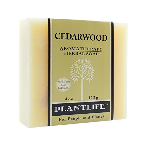 Plantlife Cedarwood Aromatherapy Herbal Soap Bar with Natural Ingredients and Premium Essential Oils - Moisturizing Cleanse for Body, Face, Hands - 4 oz