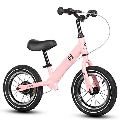 Bicicleta sin pedales Bici Bicicleta Pink Balance con Freno de Mano - Girl Kids Bike, Regalo de cumpleaños, 2/3/4/5/6 años