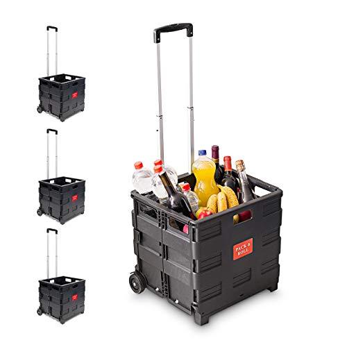 4 x Einkaufstrolley, Klappbar, Einkaufsroller bis 35 kg, Verstellbarer Griff, Mit Rollen, HBT: 100 x 42 x 37 cm, schwarz