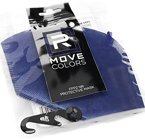 Rmove 5 pezzi di mascherine FFP2 colorate Blu + gancio Certificate CE mascherine ffp2 colorate adulti (Blu, 5 pezzi)