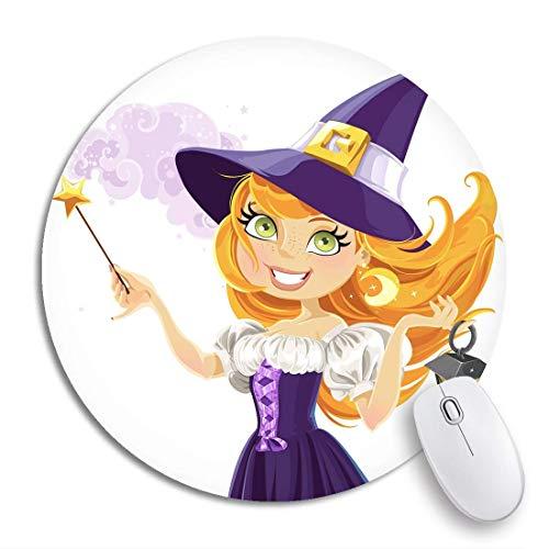 Rundes Mauspad Roter Halloween-süßer junger Hexen-Zauberstab und Taschenlampe rutschfeste Gummibasis-Mausmatte Gaming-Mauspad für Computer