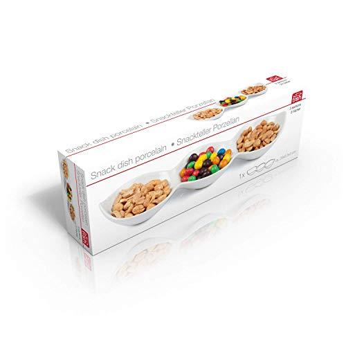 Dipschalen-Set - Dipschale - Snackschale - Servierplatte - Weiß - Porzellan - Boot Form - 3 fach Snack - Einzelbett