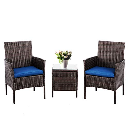 SUNCROWN 3-Piece Patio Bistro Outdoor Furniture Set, All-Weather Brown Wicker and Glass Side Table, Nautical Navy Cushion