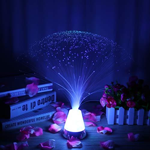 LEDMOMO Lampe à fibre optique Lampe à fibre LED à piles avec base de cristaux à changement de couleur (lumière bleue)