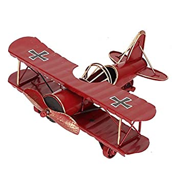 Iron Airplane Model Vintage Wrought Iron Aircraft Biplane 4 Colors Optional for Desktop Decor Photo Props Gift Red