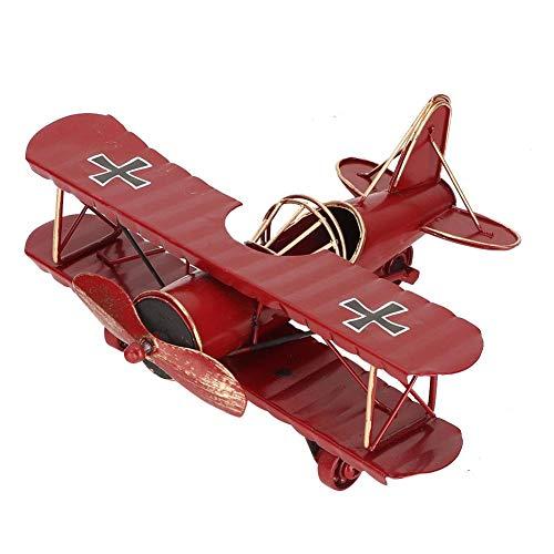 Flugzeugmodell, Vintage Eisen dekorative Flugzeuge Doppeldecker Anhänger Spielzeug für Foto Requisiten, Desktop(Red)