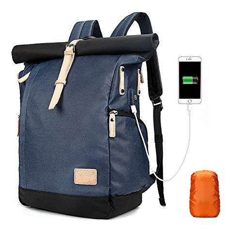 Neusky wasserdichter Laptop Rucksack Kurierrucksack Uni Rucksack Schulrucksack USB Rucksack Backpack + Regenschutz für Damen, Herren (Vintage-Blau)