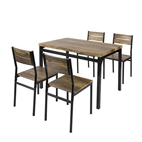 SoBuy Set 5 Pezzi Tavolo con 4 sgabelli da Pranzo Soggiorno Cucina e Ristorante OGT28-N+FST72x4