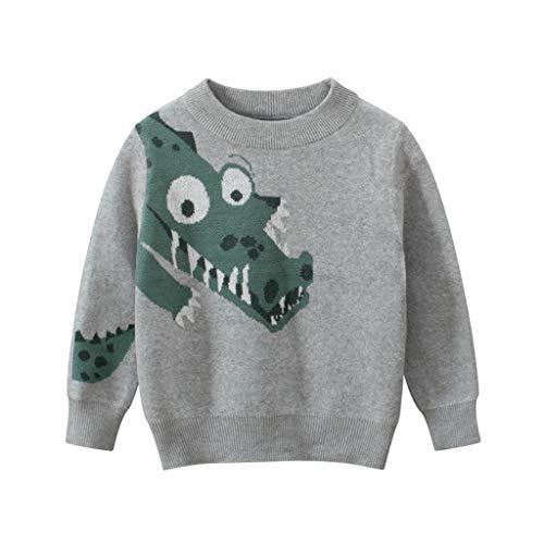 JKstore - Maglione per bambini, a forma di cuore, con dinosauro, per autunno, inverno, Halloween, Natale, 1-9 anni grigio 8-9 Anni