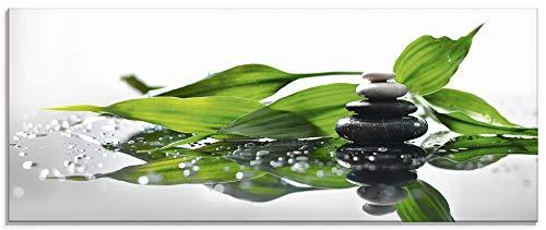 Artland Glasbilder Wandbild Glas Bild einteilig 125x50 cm Querformat Asien Wellness Zen Steine Spa Blätter Reflektion Entspannung S7LT