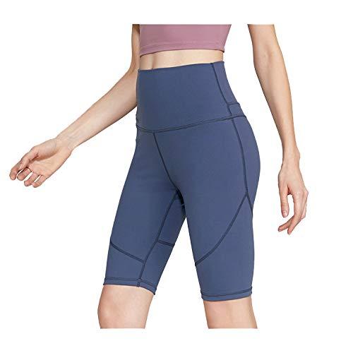 Sport Yoga Pants,'S Senza Saldatura Alte Donne della Vita di Allenamento Pancia Controllo Stretch Esecuzione Fuseaux, Non See-Through Fitness Elastic Shorts,Blu,S