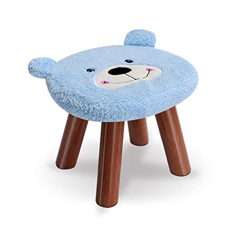MQH Animal Ottoman Series Cute Bear Footstool Sofa Plush Low Stool with Vivid Adorable Animal Like Features fot Gift Bedroom (Color : Blue)