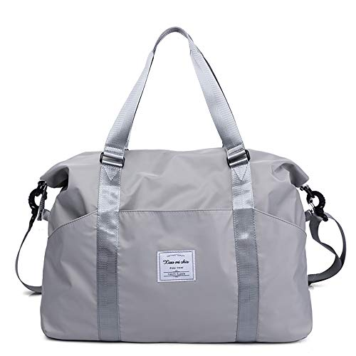 Women's Travel Duffle Bags, Tote Crossbody Bag Ladies Oxford Waterproof Gym Bag Weekend Overnight Carry on Shoulder Tote Bag Holdall Luggage Bags (L, Gray)