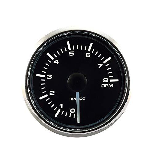 MOTOR METER RACING Universal Tachometer for Gasoline 2' 8000 RPM Black Dial Chrome Bezel