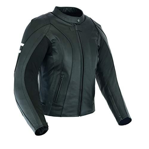 Texpeed - Damen - Motorradjacke mit Einsätzen - Rindsleder - Brustumfang 118.11cm