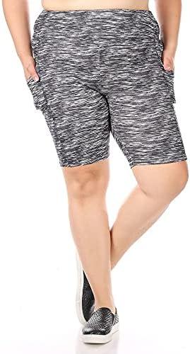 ShoSho Womens High Waist Yoga Compression Tummy Control Biker Shorts W/Pockets