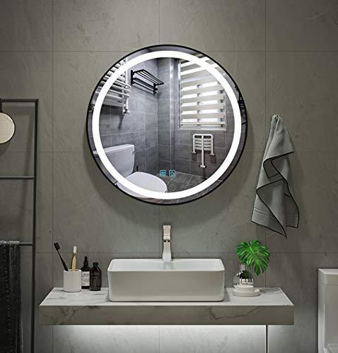 BL Espejos Redondos de Dos Colores con Luces Círculo Moderno, Estilo desempañador Opcional, Espejo de baño con iluminación LED con Marco Negro