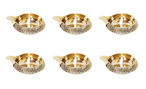 NK GLOBAL Dekorative Diya Set von 6 Stück Messing Öllampe Indische Pooja Artikel Laxmi Pooja Gravierte Diya Hindu Geschenke Tempel Diwali Dekorationen Geschenke