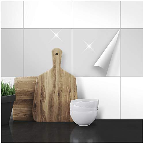 Wandkings Fliesenaufkleber - Wähle eine Farbe & Größe - Hellgrau Glänzend - 20 x 20 cm - 20 Stück für Fliesen in Küche, Bad & mehr