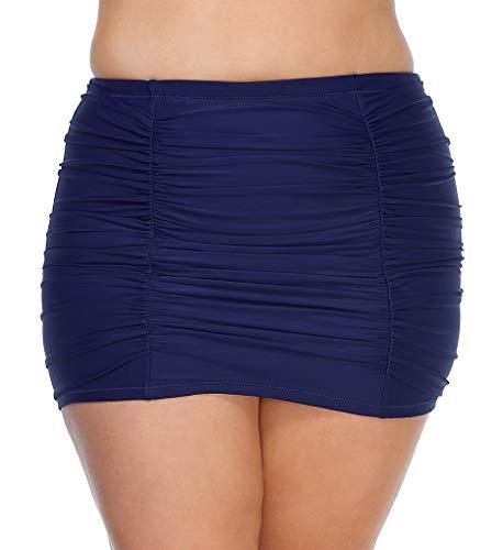 Raisins Curve Women's Plus Size Caribe Solids Costa Skirt Swim Bottom D840069 16W Navy