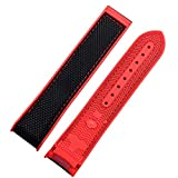FAAGFC Nylon Rubber Watchband for Omega Men Deployant Clasp Strap Watch Accessorie Silicone Watch Bracelet Chain (Band Color : Red Band, Band Width : 20mm)