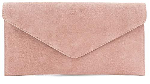 Bolso de mano de ante Verapelle de gran tamaño de gamuza italiana genuina bolsa de embrague de boda fiesta de graduación regalo de dama de honor para ella, Rosa Polvoriento, Large