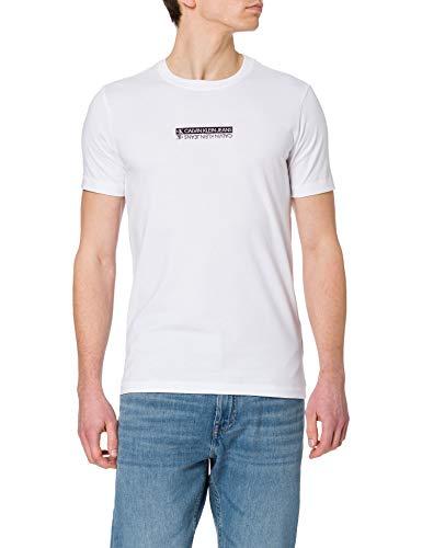 Calvin Klein Jeans Mirror Logo Slim FIT tee Camiseta, Blanco Brillante, S para Hombre