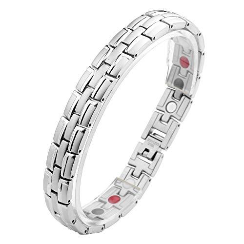 Sunligoo Herren Magnetarmband aus Edelstahl Magnetfeldtherapie Armband Silber Armreif mit Entfernen Werkzeug Gesundheit Armbandkette für Arthritis Schmerzlinderung