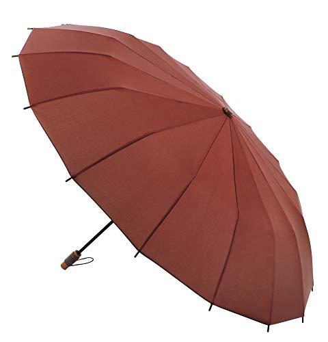 Paraguas VOGUE Supermini. 16 Varillas. Diseño Inspirado en Las Tradicionales sombrillas japonesas. Antiviento y Acabado Teflón. (Rojo Burdeos)