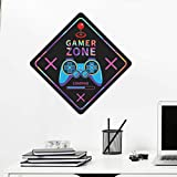 Game Wall Decals for Boys Room, Gamer Zone Wall Stickers Creative Game Controller Wall Decor Posters Vinyl Video Game Wall Art Murals for Kids Room Game Room