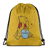 Vbanlya Winnie Pooh Drawstring Backpack Gym Bag Beach Party Favor Bags Wrapping Sackpack Travel Bags Lightweight And Large Capacity