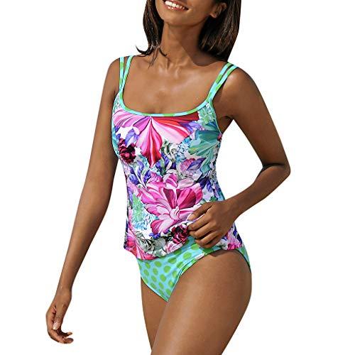 Overdose Tankinis Damen Cami Gepolstert Backless Bademode Badeanzug Bikinis Blumendruck Nationaler Stil Strandkleidung Frauen Swimwear Zweiteilige Tankini Sets mit Slip