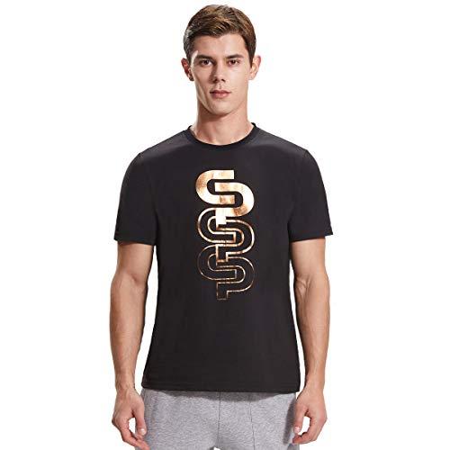 Extreme Pop Camiseta de Hombre en piqué de algodón con Mangas Cortas, Marca Inglesa, Negro 3, l