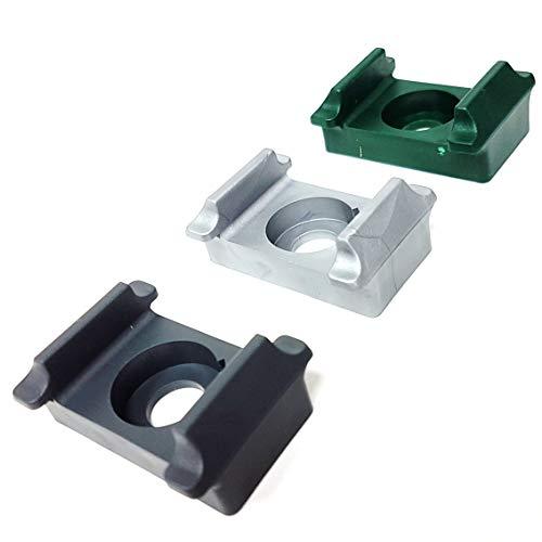 10 Stück Pfostenklammer aus Kunststoff im Farbton Silber/ Kunststoff Auflageblock zur Befestigung von Stabgittermatten am Zaun-Pfosten mittels Schrauben und Blindnietmuttern
