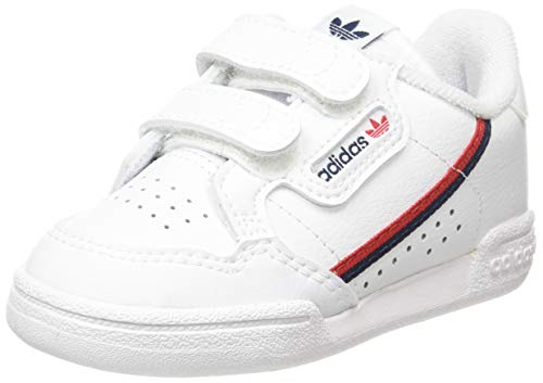Adidas Continental 80 Cf I, Scarpe da Ginnastica Unisex-Bambini, Ftwr White/Ftwr White/Scarlet, 20 EU