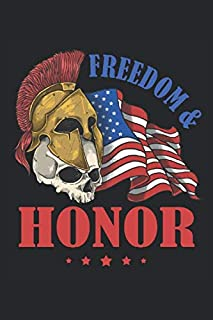 Freedom & Honor: Army veteran US soldier flag USA patriotism gifts lined notebook (A5 size, 15.24 x 22.86 cm, 120 pages)