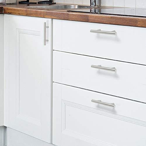 (30 Pack) Probrico 3 Inch Hole Centers Euro T Bar Cabinet Pulls Stainless Steel Kitchen Drawer Handles Satin Nickel Furniture Dresser Cabinet Hardware