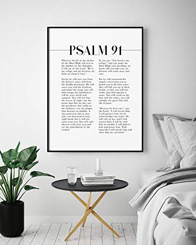 Juabc Modern Psalm 91 scripture wall art, the one who lives in the shelter, artwork from the bible verse for your Christian home decor 50x70cm No Frame