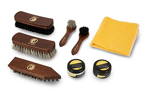 Cavallo Set voor de verzorging van de schoenen van pure Crine - Set van schoenen en laarzen van leer - crème kaps voor waterbasis en langlaufpenseel - 8 stuks premium