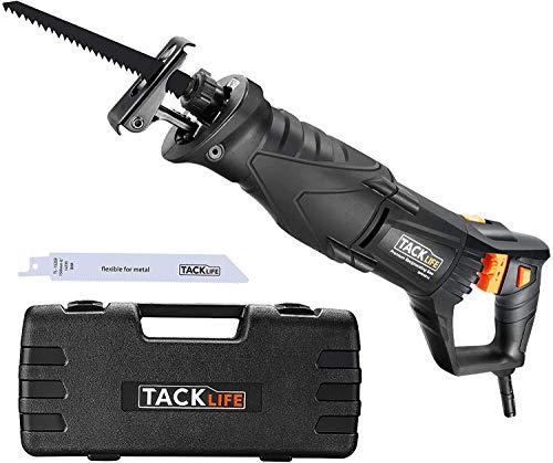 TACKLIFE 850W Sega a Gattuccio, Regolazione Continua della Velocità 0-2800SPM, Profondità di Taglio: 180mm (Legno), Maniglia Girevole e Valigetta -RPRS01A