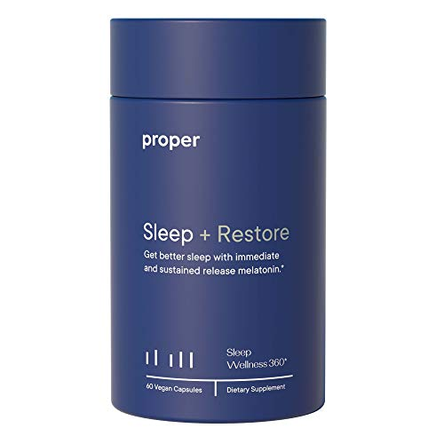 Proper Sleep + Restore - Natural Melatonin Sleep Aid and Healthy Sleep Solution for A Full Night of Restful Sleep - 60 Vegan Capsules, Non-GMO, Sugar-Free, Time Release