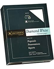 """Southworth 25% Cotton Business Paper, 8.5"""" x 11"""", 24 lb/90 gsm, Diamond White, 500 Sheets - Packaging May Vary (31-224-10)"""