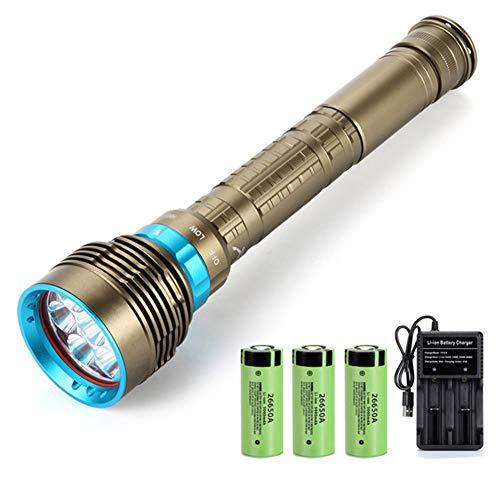 CZX Nueva LED Linterna De Buceo 7 XM-L2 7000Lm Linterna Bajo El Agua 100M Linterna Resistente Al Agua Y La Batería 3X26650 + Cargador,T6 Bright,B