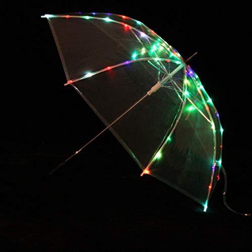 Cacoffay Accessoires de Performance de Danse du Ventre LED Parapluie Droit Tige de Parapluie Multicolore Lumineux Festival Festival Dance Props