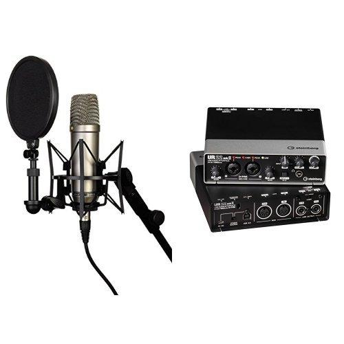 Rode NT-1A Großmembran-Kondensatormikrofon mit goldbedampfter und elastisch gelagerter 2,5 cm (1 Zoll) Nierenkapsel + Steinberg UR22 MKII USB Audio Interface inkl. Apple iPad Support Bundle